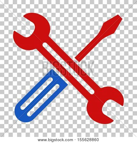 Blue And Red Spanner and Screwdriver toolbar pictogram. Vector pictogram style is a flat bicolor symbol on chess transparent background.