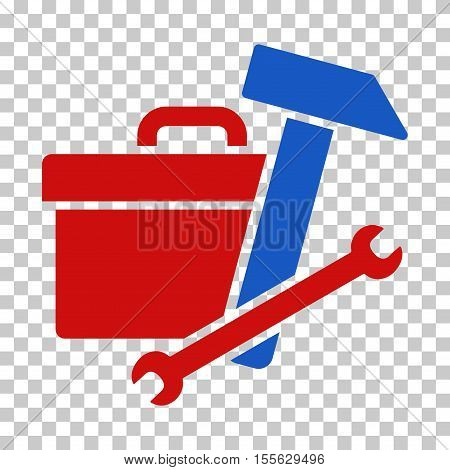 Blue And Red Toolbox interface toolbar icon. Vector pictograph style is a flat bicolor symbol on chess transparent background.