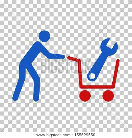 Blue And Red Tools Shopping toolbar icon. Vector pictograph style is a flat bicolor symbol on chess transparent background.