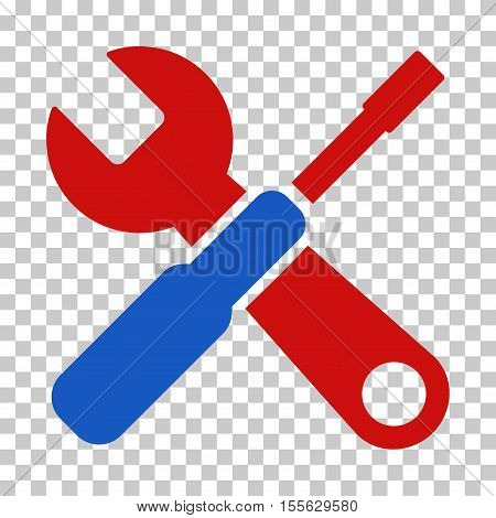 Blue And Red Tools interface toolbar icon. Vector pictogram style is a flat bicolor symbol on chess transparent background.