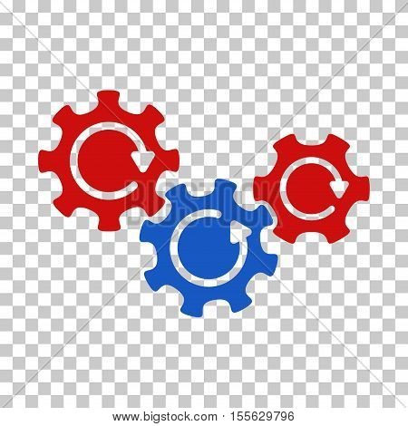 Blue And Red Transmission Gears Rotation interface toolbar pictogram. Vector pictogram style is a flat bicolor symbol on chess transparent background.