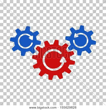 Blue And Red Transmission Wheels Rotation interface toolbar pictogram. Vector pictogram style is a flat bicolor symbol on chess transparent background.