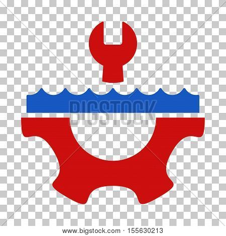 Blue And Red Water Service Gear toolbar pictogram. Vector pictogram style is a flat bicolor symbol on chess transparent background.