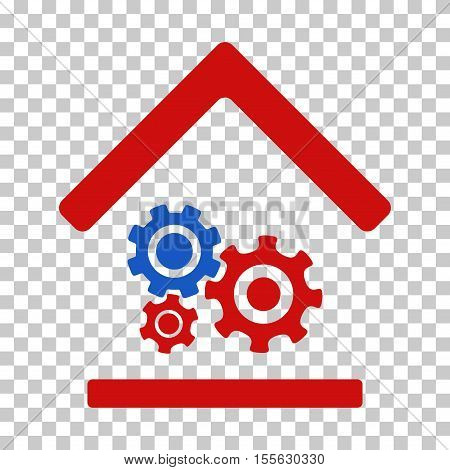 Blue And Red Workshop toolbar pictogram. Vector pictograph style is a flat bicolor symbol on chess transparent background.