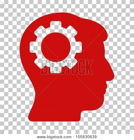 Red Brain Gear toolbar icon. Vector pictogram style is a flat symbol on chess transparent background.