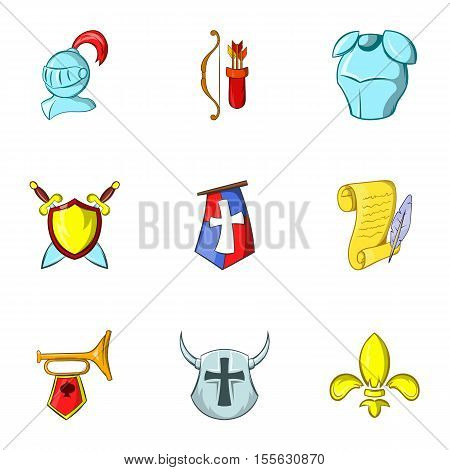Knight icons set. Cartoon illustration of 9 knight vector icons for web