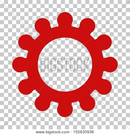 Red Cog toolbar icon. Vector pictograph style is a flat symbol on chess transparent background.