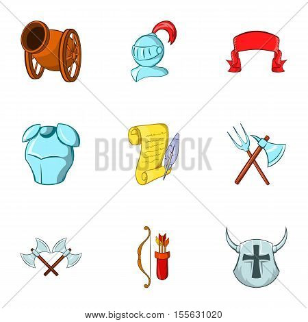Military middle ages icons set. Cartoon illustration of 9 military middle ages vector icons for web