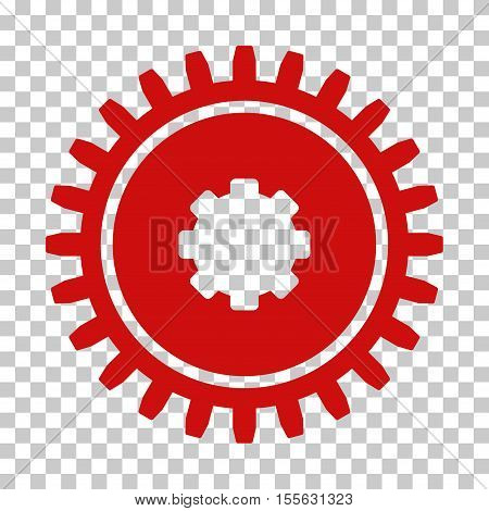 Red Cogwheel interface toolbar pictogram. Vector pictograph style is a flat symbol on chess transparent background.