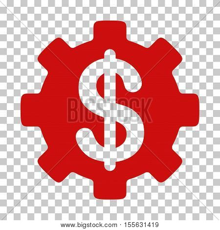 Red Development Cost interface toolbar pictogram. Vector pictogram style is a flat symbol on chess transparent background.