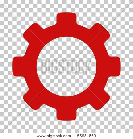 Red Gear toolbar icon. Vector pictogram style is a flat symbol on chess transparent background.
