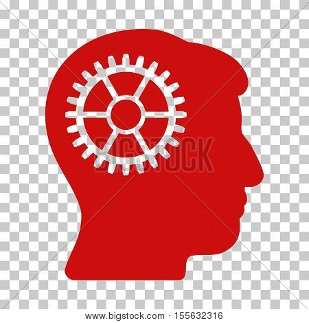 Red Intellect Cog interface toolbar icon. Vector pictograph style is a flat symbol on chess transparent background.