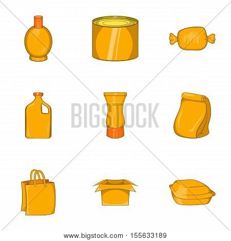 Pack icons set. Cartoon illustration of 9 pack vector icons for web