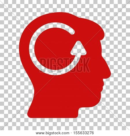 Red Refresh Head Memory interface toolbar pictogram. Vector pictograph style is a flat symbol on chess transparent background.