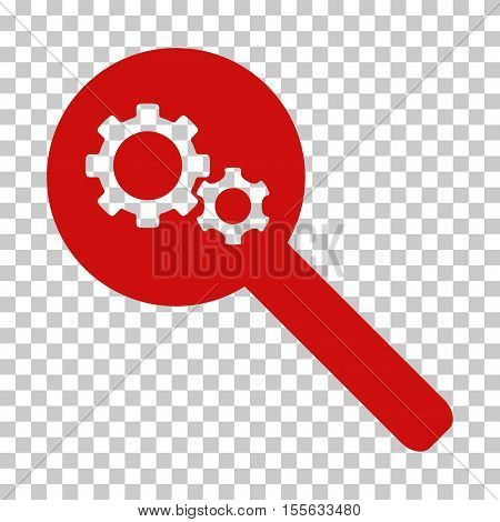 Red Search Gears Tool toolbar pictogram. Vector pictogram style is a flat symbol on chess transparent background.