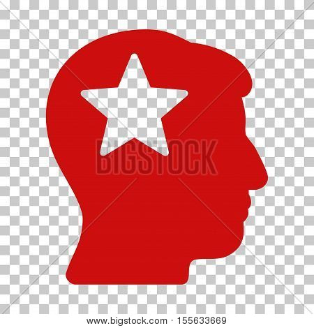 Red Star Head toolbar icon. Vector pictogram style is a flat symbol on chess transparent background.