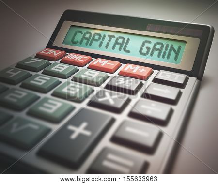 Solar calculator with the word CAPITAL GAIN on the display. 3D illustration concept image of Business and Finance.