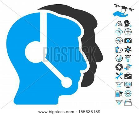 Call Center Operators pictograph with bonus flying drone tools pictograph collection. Vector illustration style is flat iconic blue and gray symbols on white background.