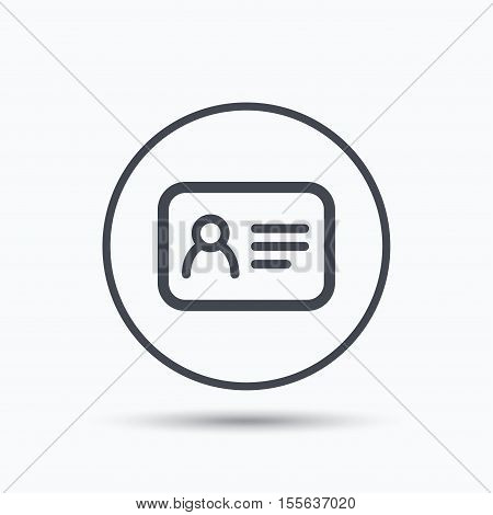 ID card icon. Personal identification document symbol. Circle button with flat web icon on white background. Vector