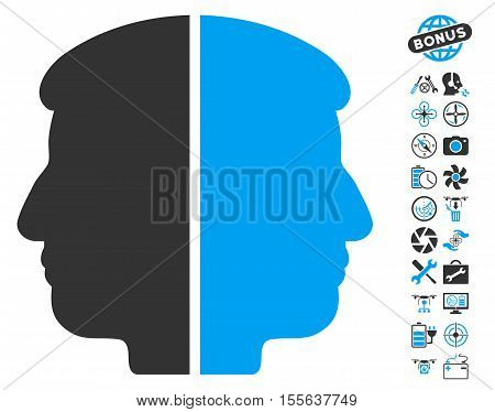Dual Face icon with bonus quadrocopter service graphic icons. Vector illustration style is flat iconic blue and gray symbols on white background.