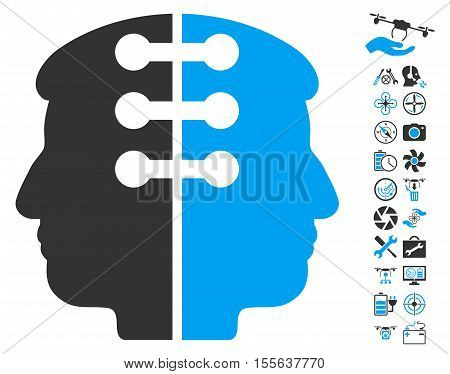 Dual Head Interface icon with bonus aircopter service design elements. Vector illustration style is flat iconic blue and gray symbols on white background.