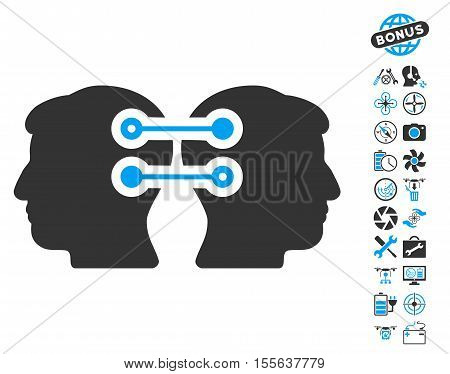 Dual Heads Interface Connection pictograph with bonus flying drone service pictures. Vector illustration style is flat iconic blue and gray symbols on white background.