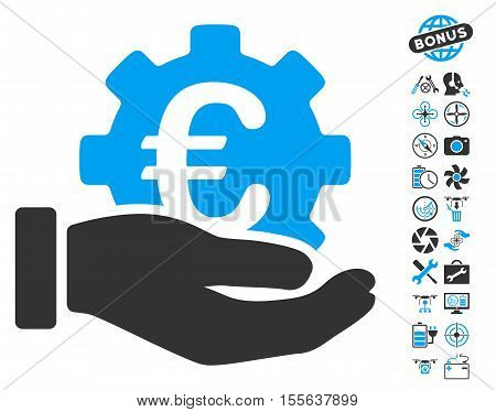 Euro Development Service Hand pictograph with bonus flying drone tools pictograph collection. Vector illustration style is flat iconic blue and gray symbols on white background.