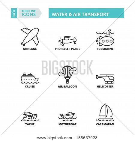 Thin Line Icons. Water And Air Transport