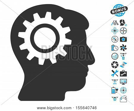 Intellect Gear pictograph with bonus flying drone service pictograph collection. Vector illustration style is flat iconic blue and gray symbols on white background.