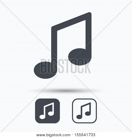 Music icon. Musical note sign. Melody symbol. Square buttons with flat web icon on white background. Vector