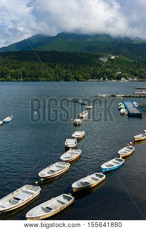 Fishing Boats And Cruise Ship On Lake Hakone