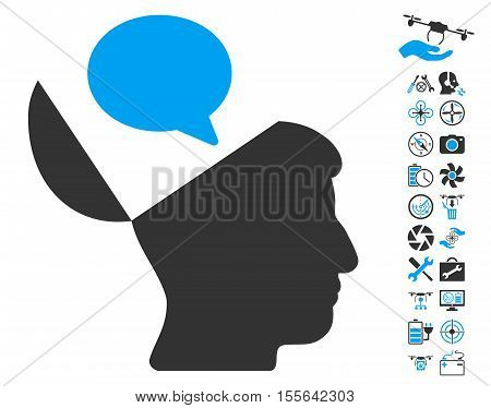 Open Mind Opinion icon with bonus uav tools symbols. Vector illustration style is flat iconic blue and gray symbols on white background.
