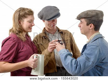 three young people in costumes 40's drink a wine isolated on white background