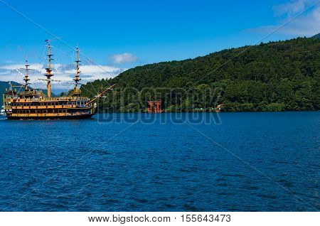Tourist Cruiser And Vermilion Tori Gate On Ashi Lake, Hakone