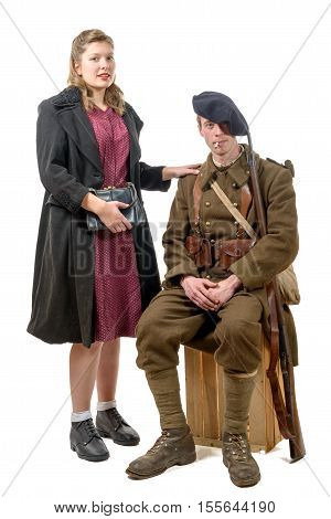 young French soldier and a young woman 1940's on white background
