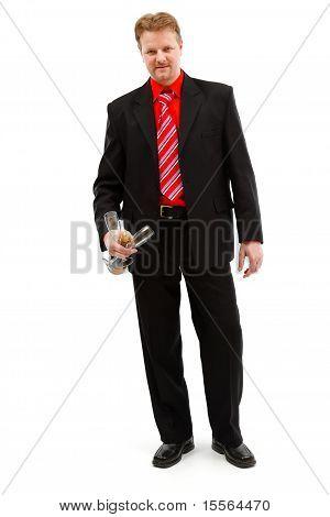 Hombre con Champagne y copas