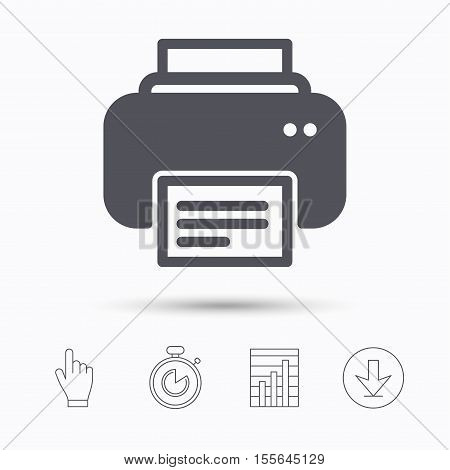 Printer icon. Print documents technology symbol. Stopwatch timer. Hand click, report chart and download arrow. Linear icons. Vector