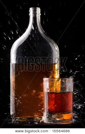 Bottle Of Whisky On A Black Background