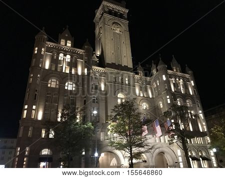 WASHINGTON, D.C. - 11/7/2016. Donald Trump's new International Hotel at a historic Postal Office in the heart of the nation's capitol on Constitution Avenue.
