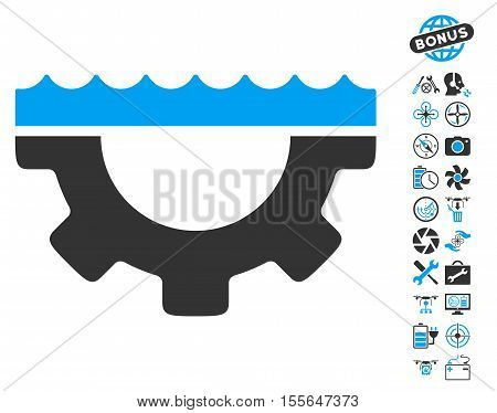 Water Service Gear icon with bonus aircopter tools design elements. Vector illustration style is flat iconic blue and gray symbols on white background.