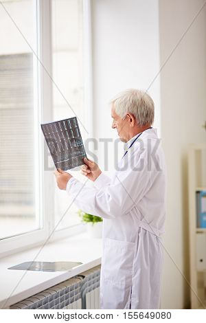 Elderly doctor analyzing x-ray image standing by the window