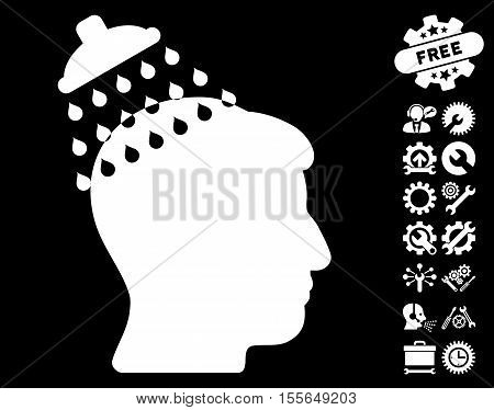 Head Shower icon with bonus settings graphic icons. Vector illustration style is flat iconic white symbols on black background.