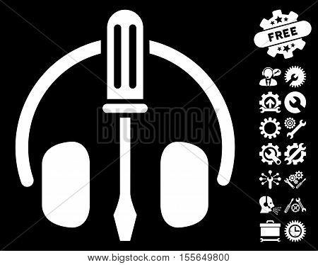Headphones Tuning Screwdriver pictograph with bonus setup tools pictograph collection. Vector illustration style is flat iconic white symbols on black background.