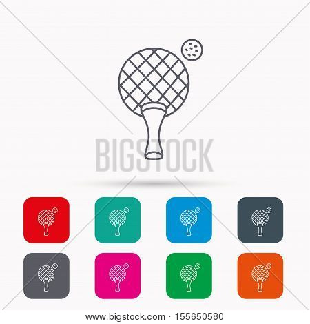 Table tennis icon. Ping pong sign. Professional sport symbol. Linear icons in squares on white background. Flat web symbols. Vector
