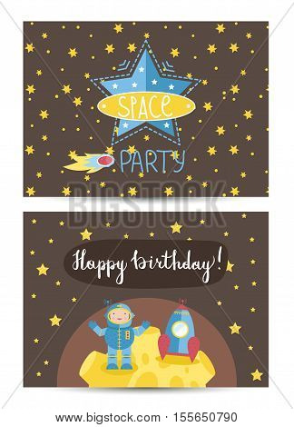 Happy birthday cartoon greeting card on space theme. Astronaut in spacesuit near rocket on Moon, stars, comet vector illustration on brown background. Bright invitation on childrens costumed party