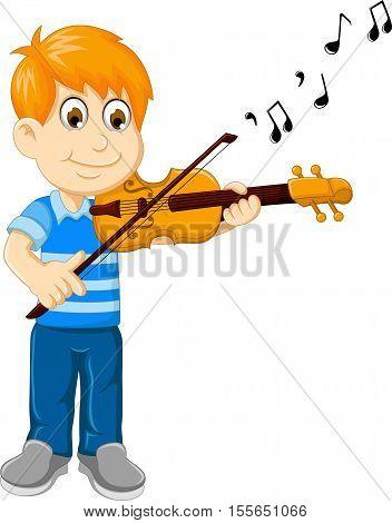 funny boy cartoon playing violin for you design