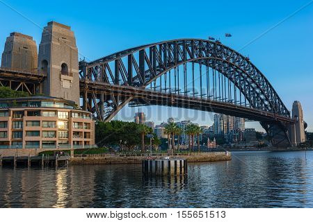 Sydney Harbour Bridge Sydney Australia.NOV 09,2016 The Sydney Harbour Bridge is a steel through arch bridge across Sydney Harbour that carries rail, vehicular, bicycle, and pedestrian traffic between the Sydney central business district (CBD) and the Nort