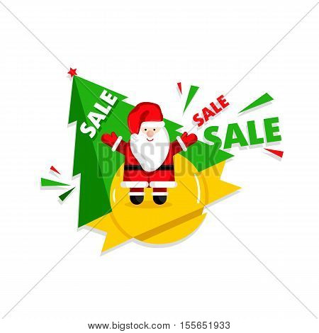 Christmas sale banner template with Santa Claus cartoon character and christmas tree vector illustration. Holiday discount, best price, winter sale, limited time offer, shopping concept in flat design
