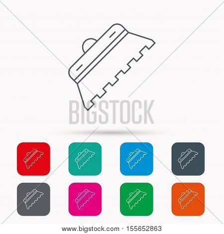 Trowel for tile icon. Spatula repair tool sign. Linear icons in squares on white background. Flat web symbols. Vector