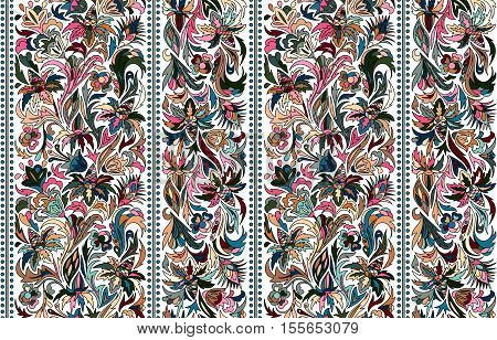 Striped seamless pattern. Floral wallpaper. Colorful ornamental border. Stock vector. Blue pink beige